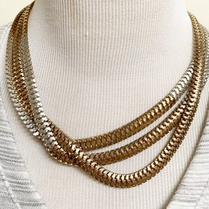 Jewelry - Vintage layered gold/silver tone ombré necklace .